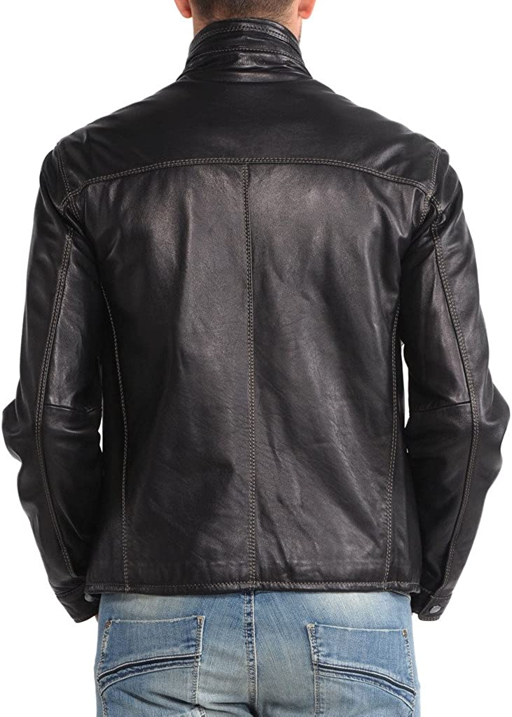 Mens Leather Motorcycle Slim Fit Jackets LF004