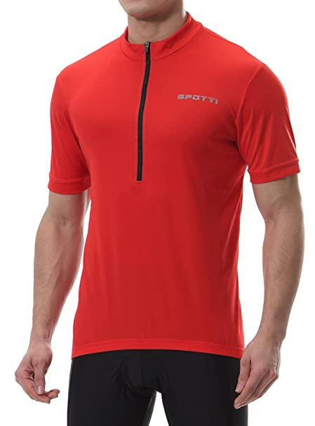 f12a16393 Spotti Men s Basic Short Sleeve Cycling Jersey - Bike Biking Shirt (Red