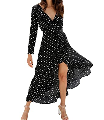 9ec81c99785 Image Unavailable. Image not available for. Color  Mansy Womens Vintage  Long Sleeve Polka Dot Ruffle V Neck Split Maxi Dress