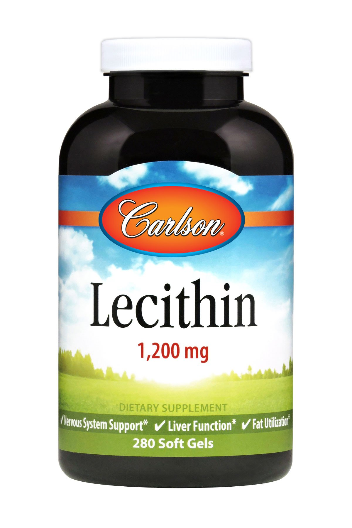 Carlson - Lecithin, 1200 mg, Nervous System & Liver Function, Unbleached Soy Lecithin, 280 soft gels by Carlson