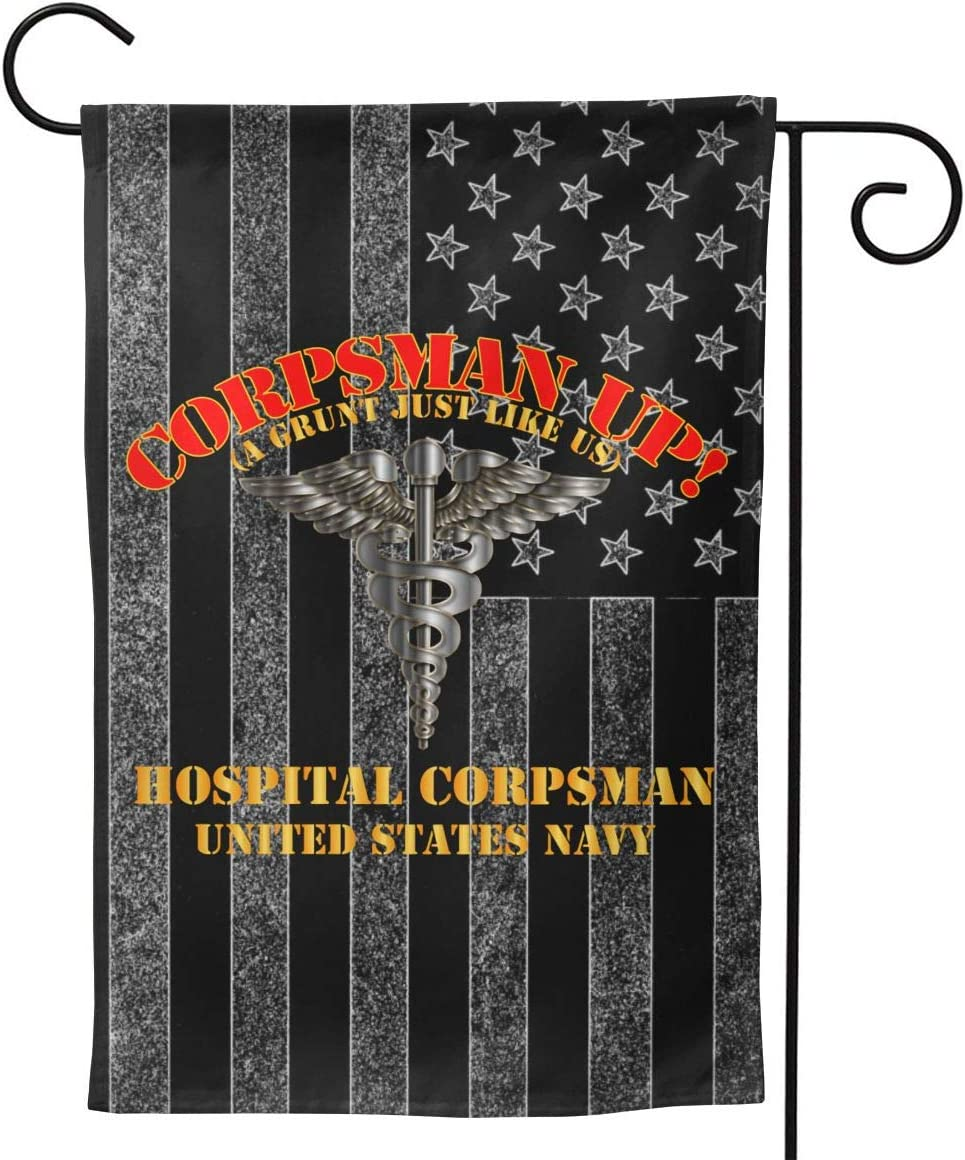 "Navy Corpsman Up A Grunt Like Us Welcome Yard Garden Flag Banners for Patio Lawn Outdoor Home Decor 12.5""x18"""