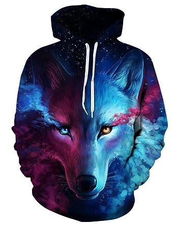 8429ab199861 eshion Unisex 3D Wolf Pullover Hoodie 3D Digital Printing Hooded Sweatshirt  L