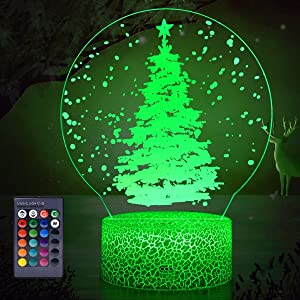 Koicaxy Christmas Tree Night Light for Kids, LED 3D Night Light Bedside Lamp with Remote Control & Smart Touch 16 Colors + 7 Colors Changing Dimmable, Best Birthday for Girls Boys