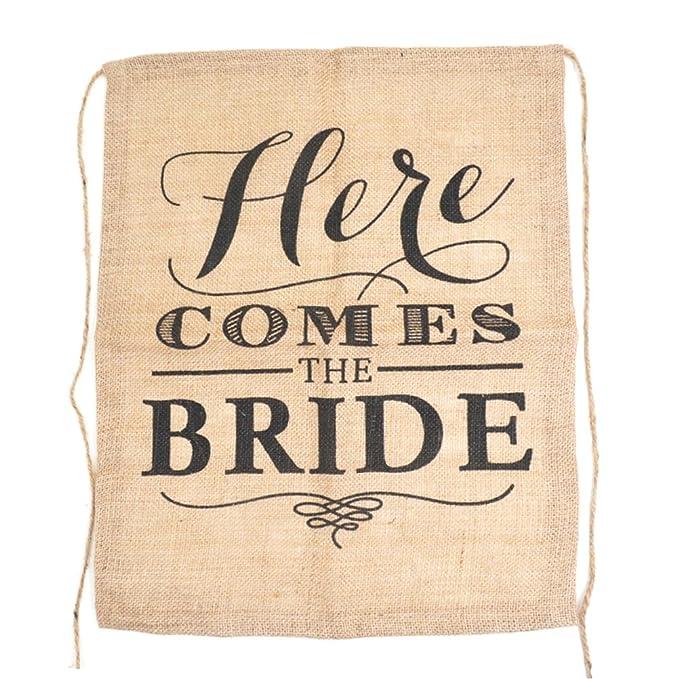 OULII arpillera boda, Novia de caracteres de señales Banner ...