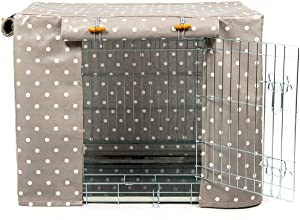 Lords & Labradors Grey Spot Oilcloth Dog Crate Cover to fit Midwest iCrate and Similar Sized Dog crates