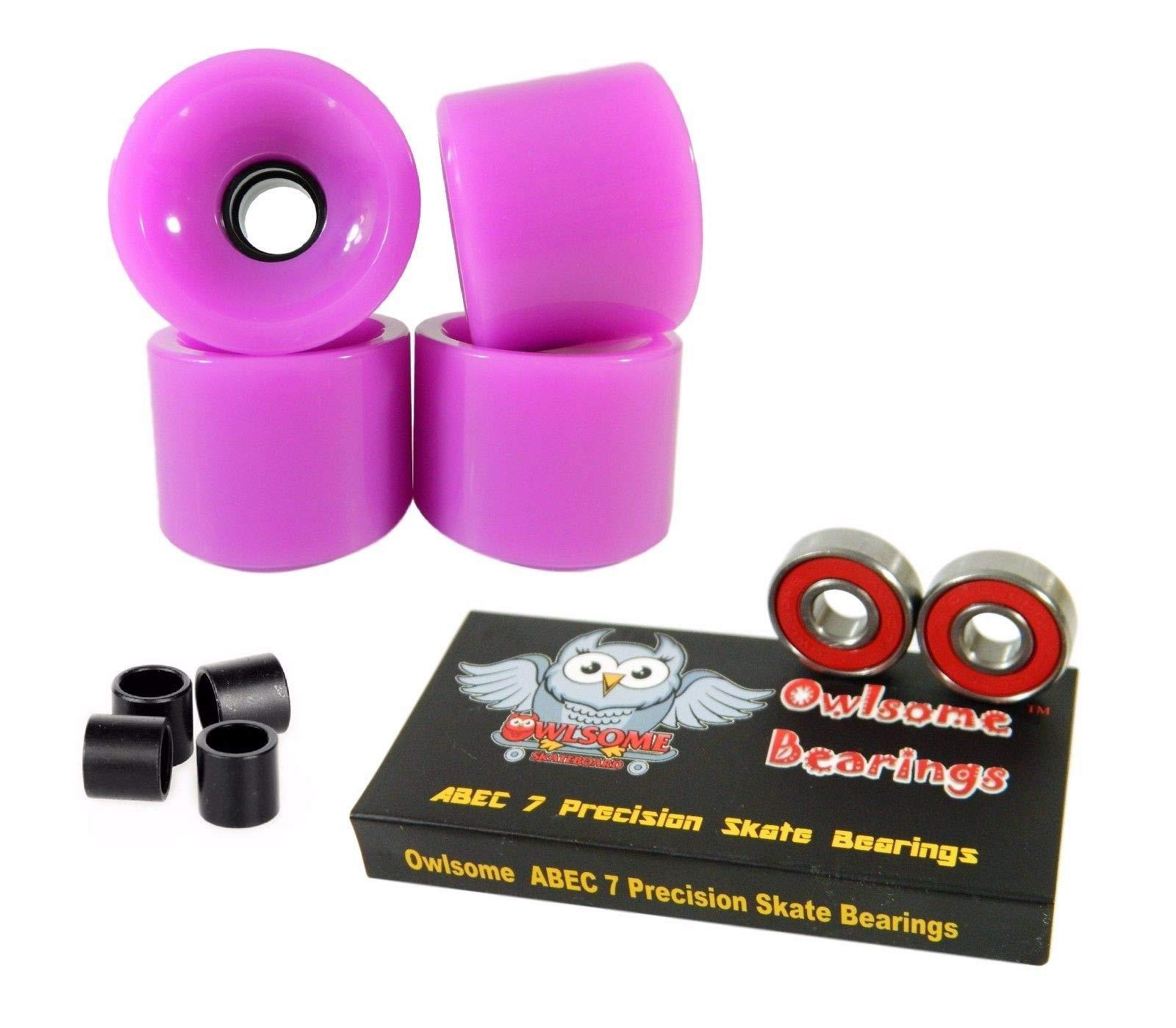 Good Skateboard Blank 70Mm 82A Neon Purple Longboard Wheels + Precison ABEC 7 Bearings