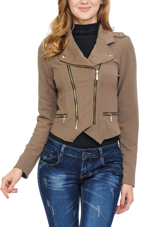 Keebon Womens Modern Casual Asymmetrical Long Sleeve Zip Up Moto Jacket Mocha Medium