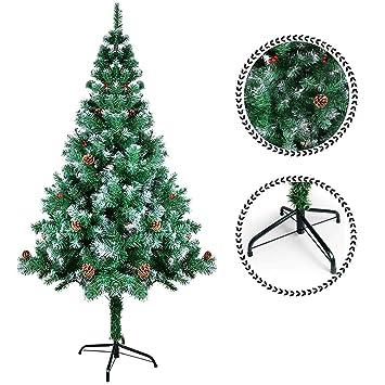 SunJas Árbol de Navidad Artificial Árbol Pino Decoración Navideña Soporte Metálico Árboles 120cm-210cm (