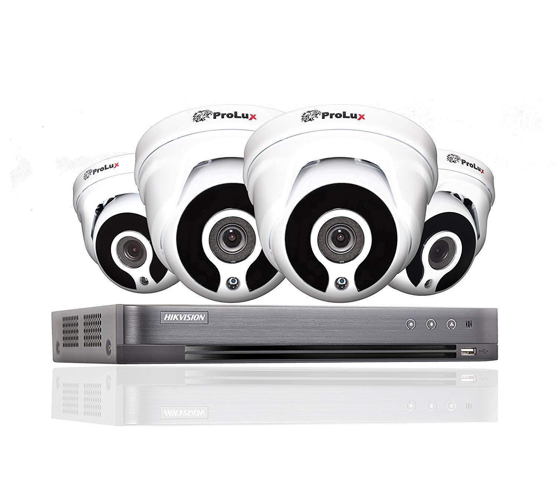 Hikvision 4 canales DVR CCTV Kit Sistema de seguridad y 4 x Sony 2,4 MP CMOS TVI 1080P Full HD color blanco cámaras domo 20 m visión nocturna por ...