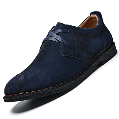 Round Toe Pig Suede Leather Spring Autumn Worker Shoes Oxford Shoes for Men Flats Shoes Men