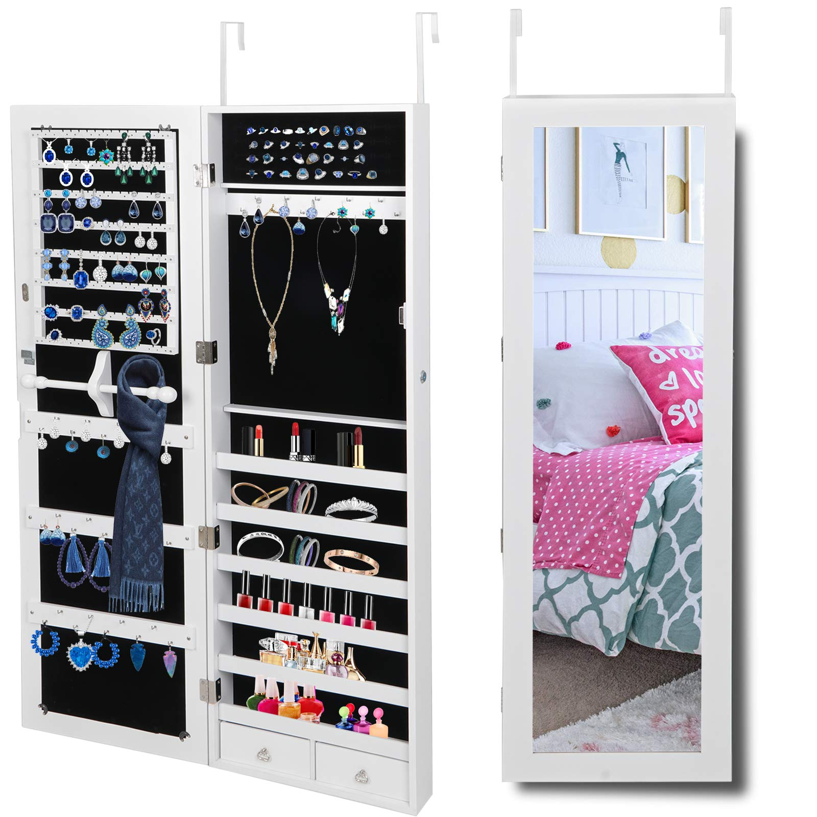 SUPER DEAL Jewelry Armoire Lockable Wall/Door Mounted Jewelry Organizer with Full Length Mirror and Drawers