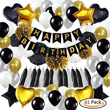 61Pack Black And Gold Party Decorations18th Birthday Decorations Including HAPPY BIRTHDAY Banner