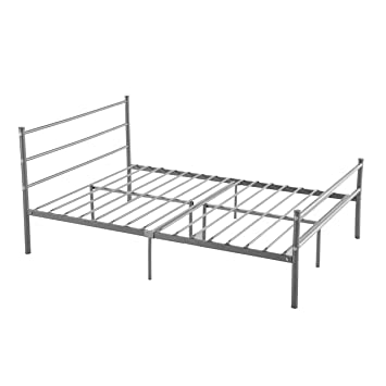 metal bed frame full size greenforest 10 legs mattress foundation two headboards silver platform bed - Black Platform Bed Frame