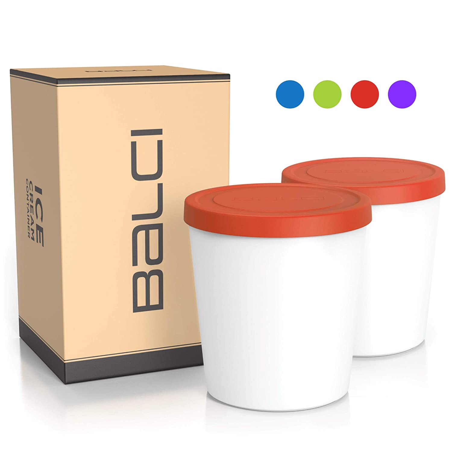 BALCI - Premium Ice Cream Container (2 PACK - 1 Quart Each) Perfect Freezer Storage Tubs with Lids for Ice Cream, Sorbet and Gelato! (RED)