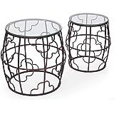 Joveco Antique Bronze Quatrefoil Designed Accent Metal Round Drum End Table with Glass Top, Set of 2