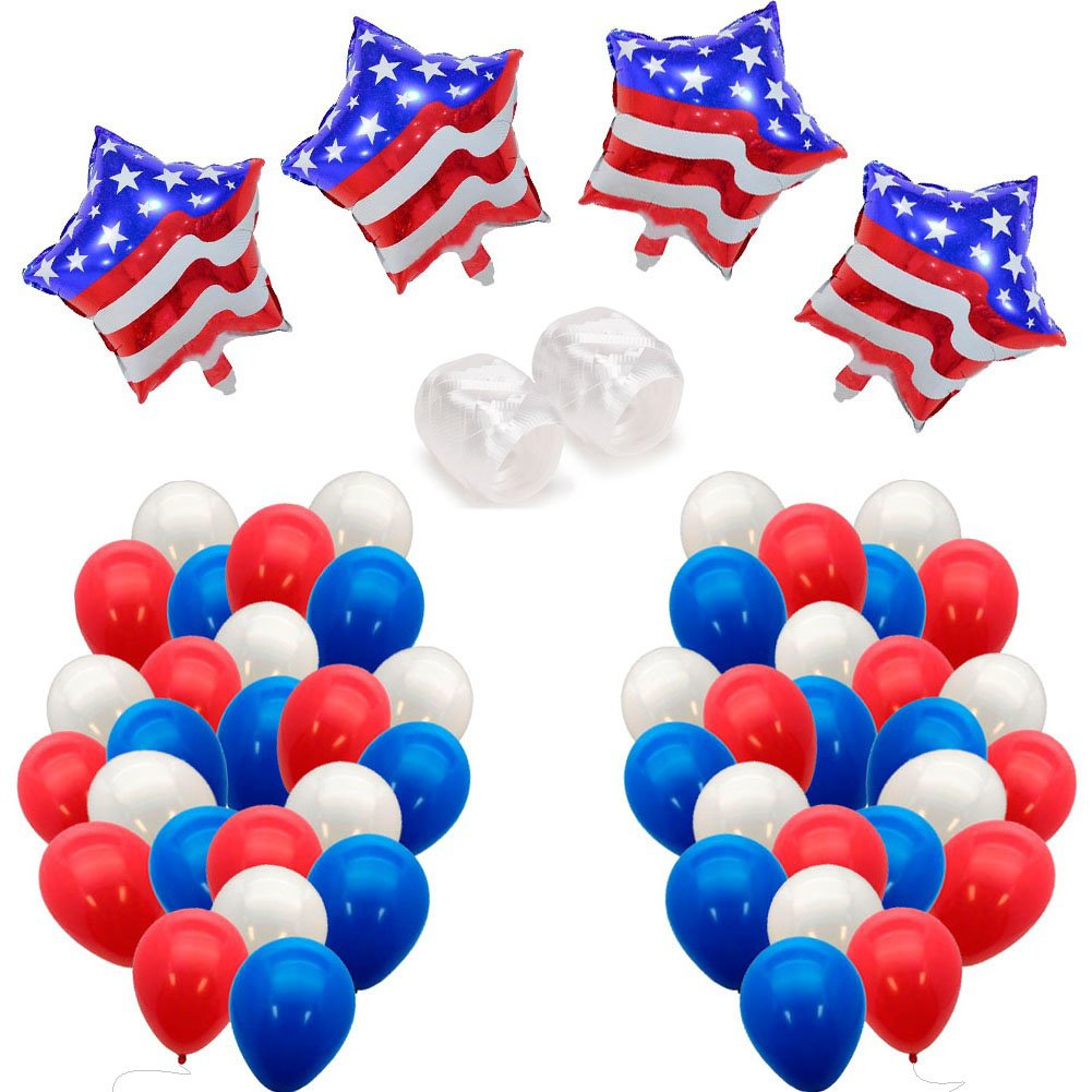Sakolla Patriotic Decorations Star Patriotic Foil balloon - Red Blue White Patriotic Latex Balloons - Memorial Day/Veteran Day/Patriotic Celebration/Fourth of July Party Supplies(102PCS)