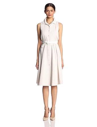 Jones New York Women's Seersucker Skirt Dress, Khaki/White, 10 at ...