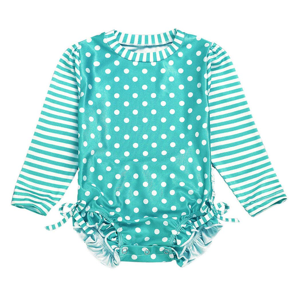 Long Sleeve Swimwear for Baby Girl Striped Dot Ruffle Crewneck Sun Protection Swimsuit (Green, Recommend Age:0-6 Months)