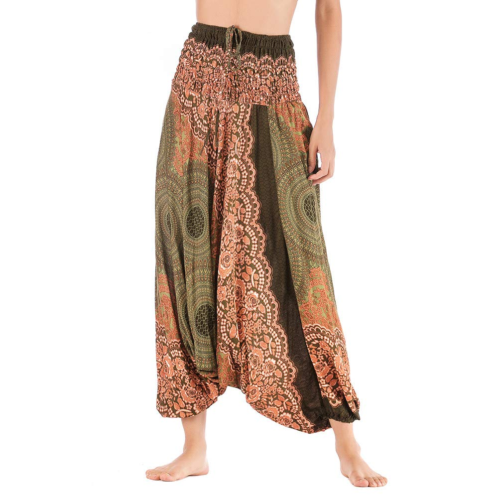 Harem Pants Women's Hippie Bohemian Yoga Pants One Size Aladdin Harem Hippie Pants Jumpsuit Smocked Waist 2 in 1 (Free, Army Green) by BingYELH Yoga (Image #2)