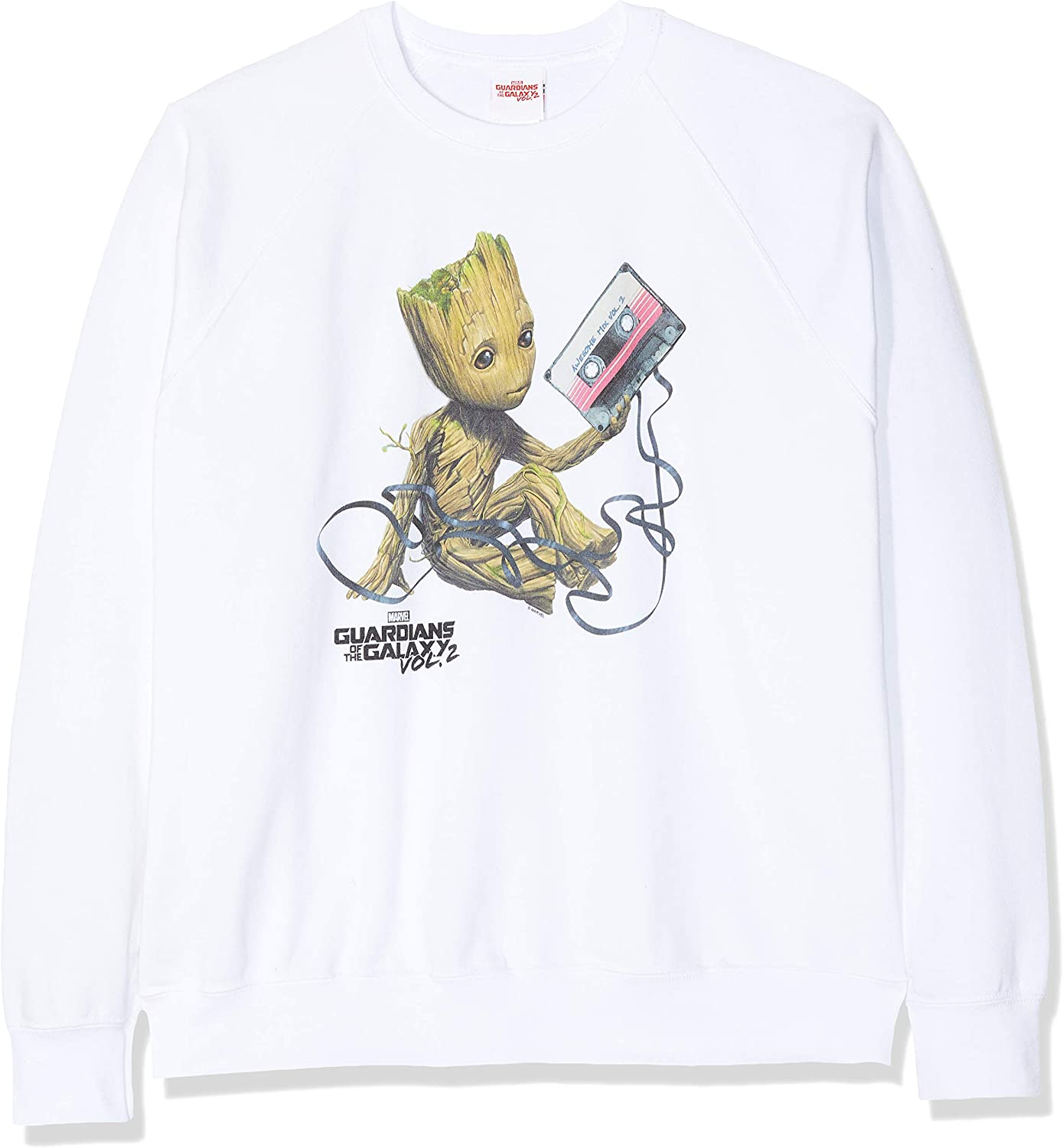 Talla del Fabricante: Large Blanco White Wht 40 Marvel Guardians of The Galaxy Vol2 Groot Tape Sudadera para Mujer