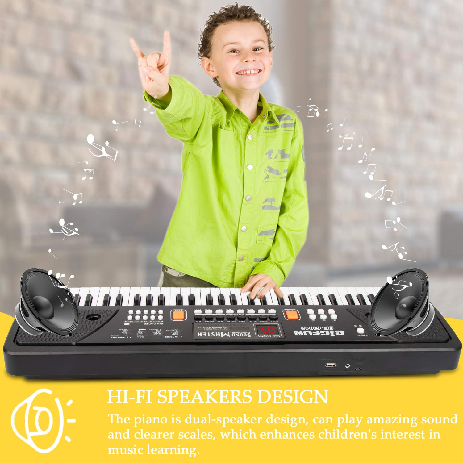 Digital Music Keyboard Piano, JINRUCHE 61 Keys Kids Piano Portable Electronic Keyboard Musical Instrument Multifunction Early Learning Educational Toy by JINRUCHE (Image #2)