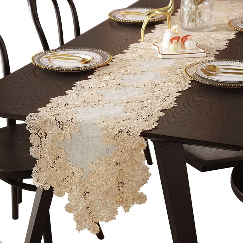 Brown Burlap Lace Small Table Runner Floral Embroidered Natural Dresser Scarves Doilies for Farmhouse Bedrooom Rustic Country Wedding Party Home Bridal Shower Decor 35 Inch
