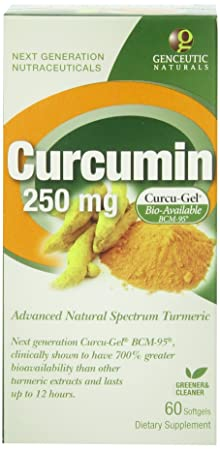 Genceutic Naturals Curcumin 250Mg Herbal Supplement, 60-Count