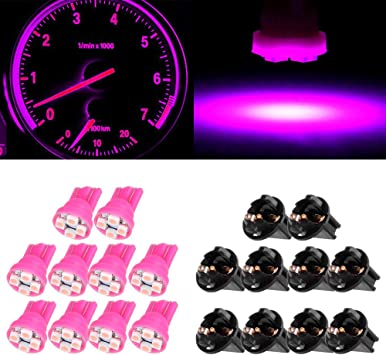 6pcs Pink Purple 194 T10 LED Bulbs W//Sockets Instrument Panel Gauge Lights