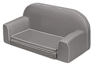 Badger Basket Upholstered Foldout Bed and Storage Pockets Doll Sofa (fits American Girl dolls), Gray