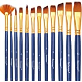 Dainayw Paint Brushes, Acrylic Paint Brushes Set for Fabric, Art Painting, Face, Watercolor, Oil, Rock, Models - Blue, Nylon Hair,12 Pieces