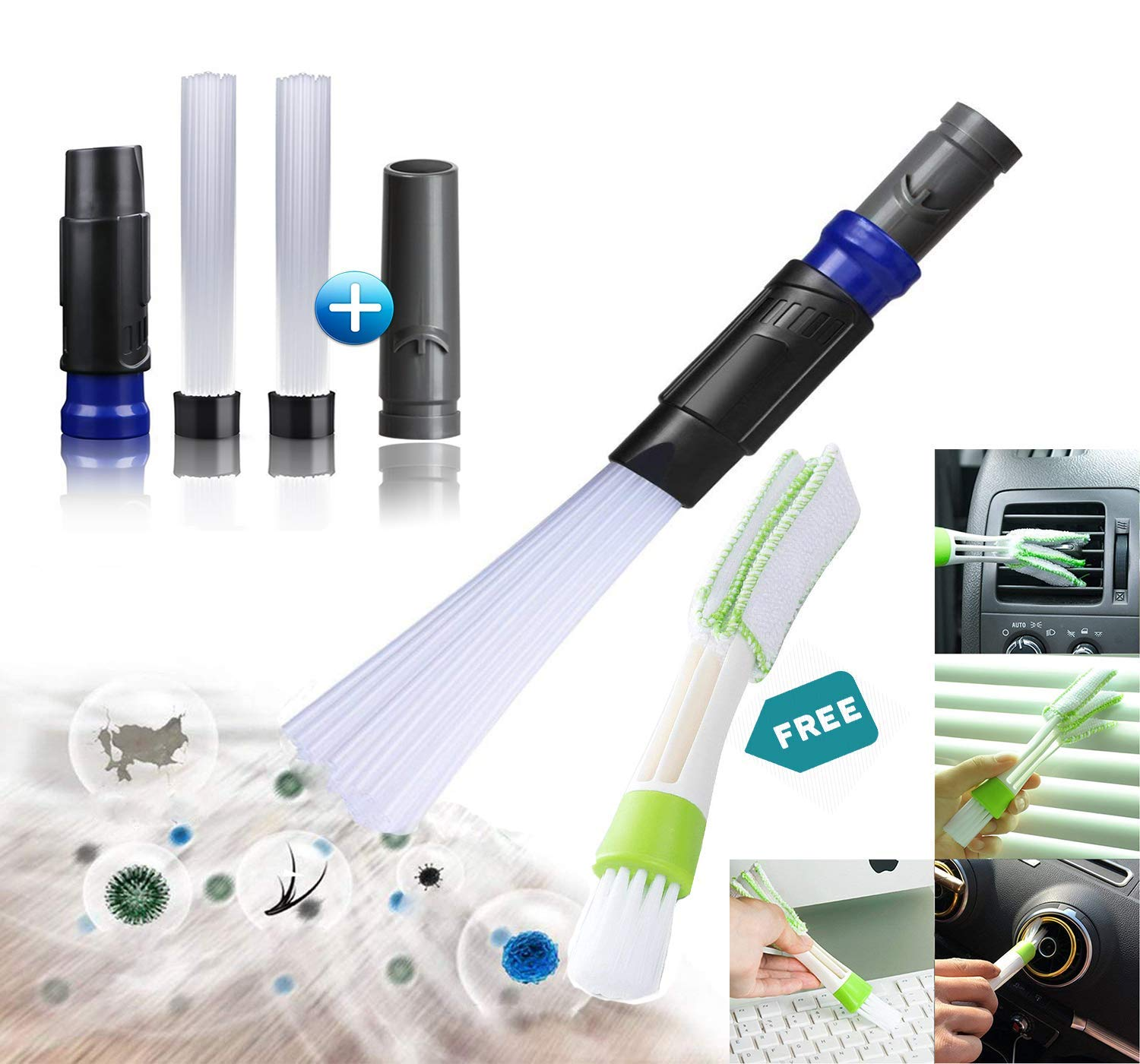 Dusty Brush, Vacuum Attachment Tiny Tubes, Dust Cleaning Sweeper Vacuum Attachments. Master Duster Cleaning Tool Flexible Access to Car,Corners,Keyboards, Drawers,Pets,Air Vents.