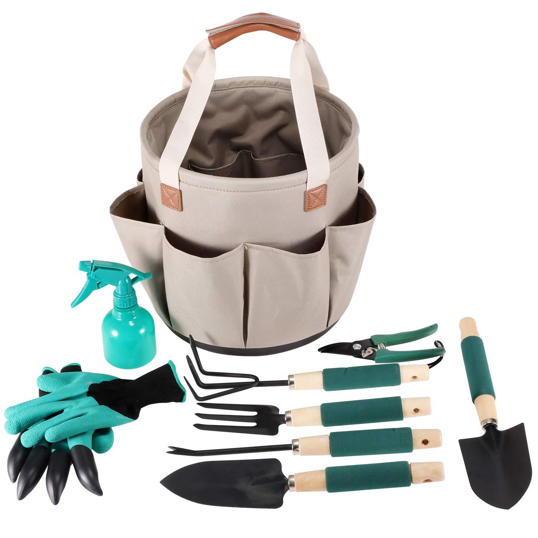 Garden Tool Organizer | Gardening Gifts | Gardening Tools Set | 9 Piece Garden Tool Set | Digging Claw Gardening Gloves Succulent Tool Set | Planting Tools | Gardening Supplies Basket | Rake Gloves by CALIFORNIA PICNIC