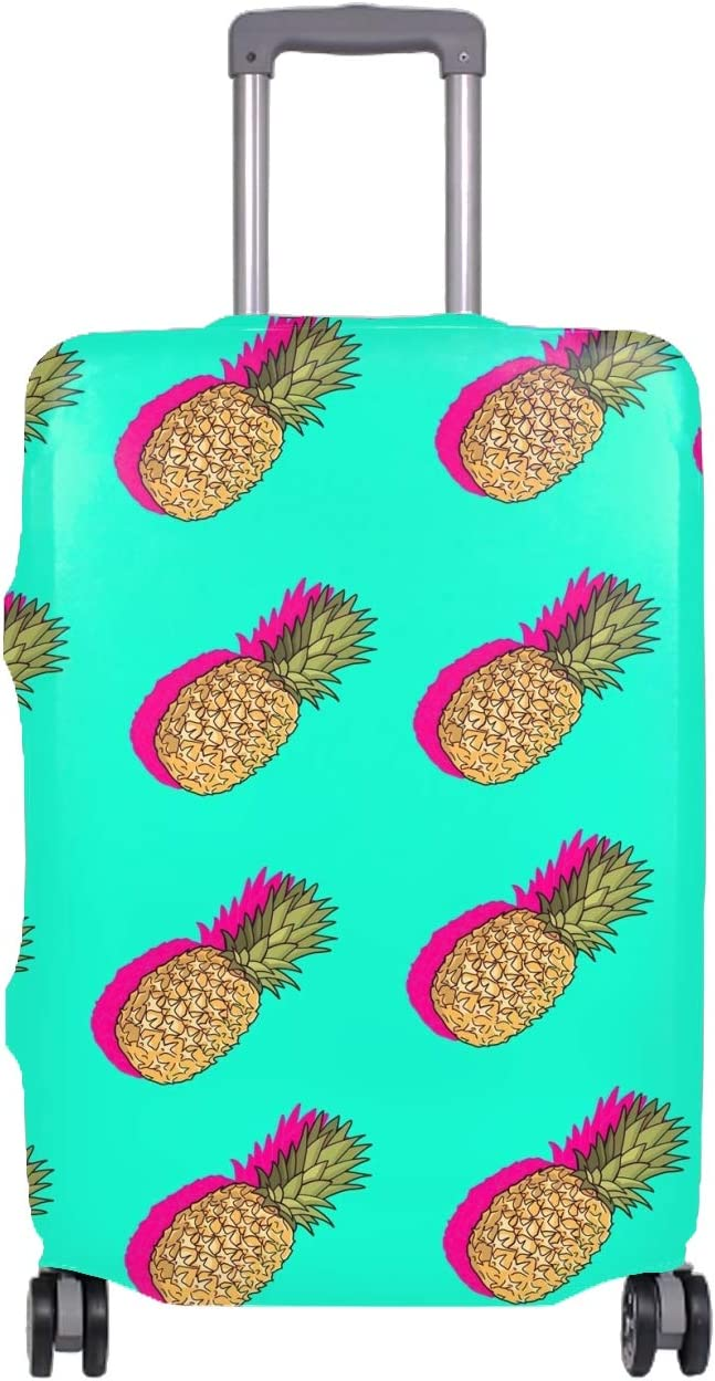 Golden Pineapples Field Travel Luggage Cover Spandex Suitcase Protector Washable Baggage Covers
