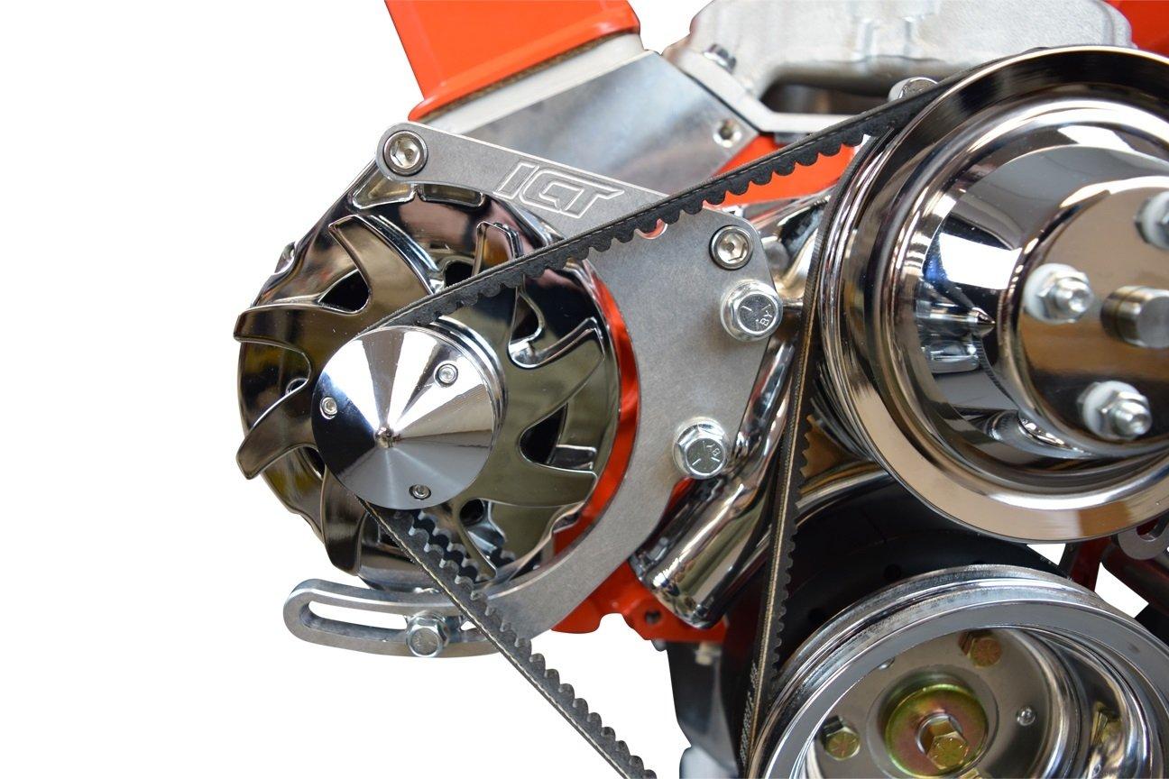 SBC Alternator Bracket Low Mount Billet Kit Long P Small Chevy Adjustable 551672 ICT Billet
