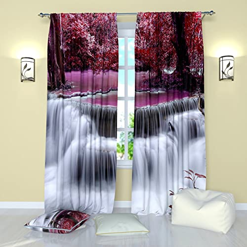 Factory4me Landscape Curtains Waterfall Magic Falls. Window Curtain Set of 2 Panels Each W52 x L96 Total W104 x L96 inches Drape