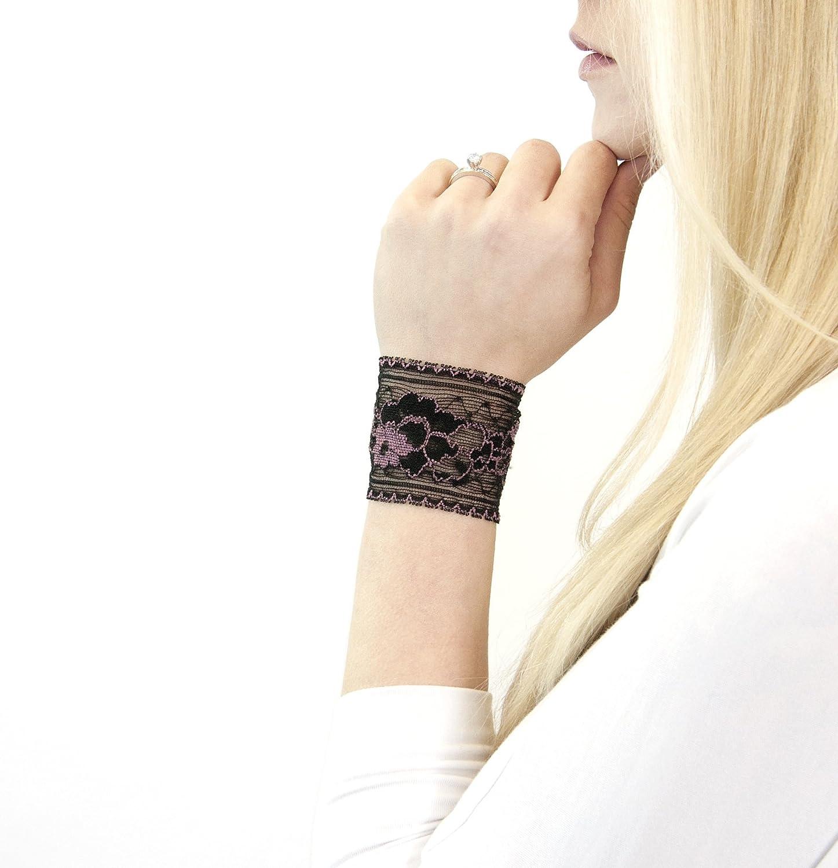 Amazon Com Short Lace Wrist Cuff Bracelet Black And Pink Floral