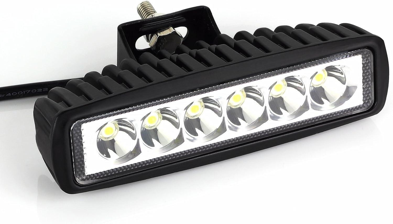 LiNKFOR Barra Luz LED18W Faro Trabajo Foco Proyector Coche Impermeable 6 LEDs Luz Antiniebla Construccion IP 67 para 12V 24V SUV Autocaravana Remolque Camion Todoterreno Tractor