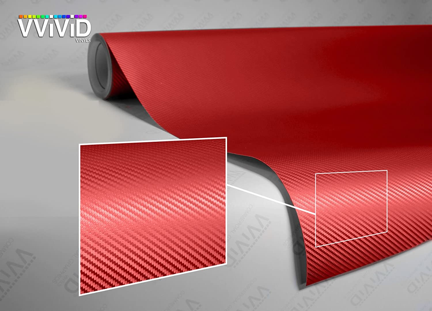 VViViD XPO Red Carbon Fiber 5ft x 6ft Car Wrap Vinyl Roll with Air Release Technology