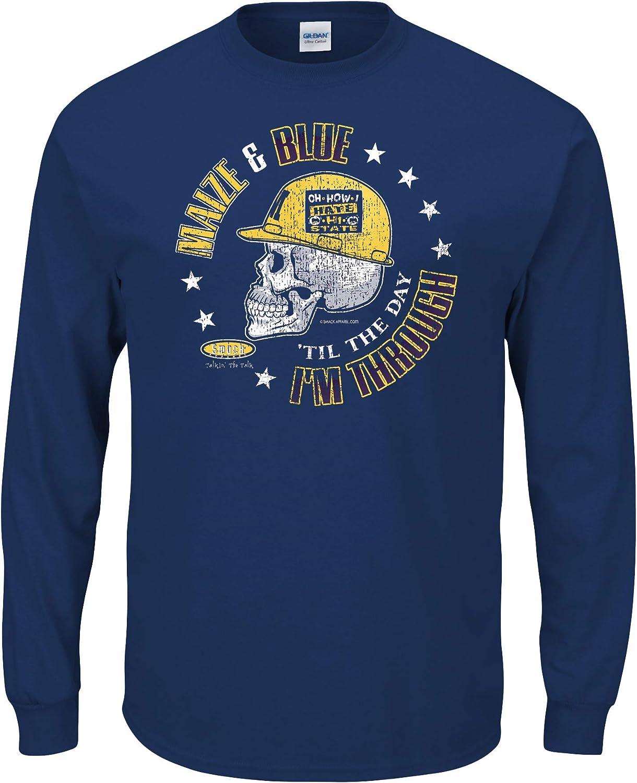 Sm-5X Smack Apparel Michigan Football Fans Maize /& Blue Til The Day Im Through Navy Shirt