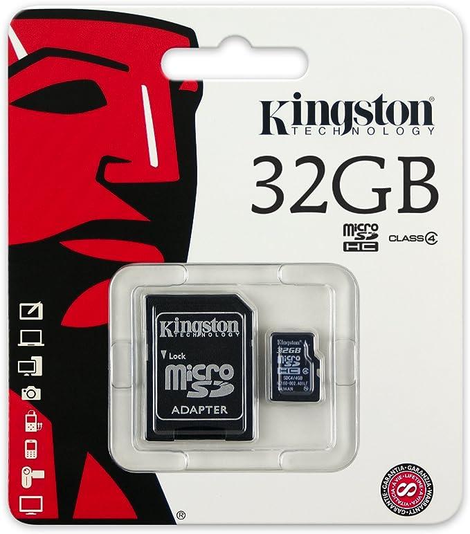 Kingston SDC4/32GB - Tarjeta Micro SDC4/32GB (SDHC Clase 4, 32 GB con Adaptador)