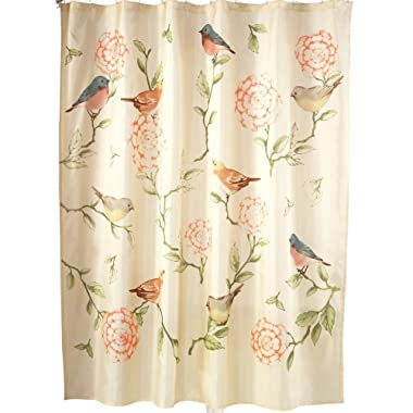 Collections Etc Birds And Blooms Floral Cream Shower Curtain with Pink and Green Accents - Bathroom Spring Décor for Bird Lovers