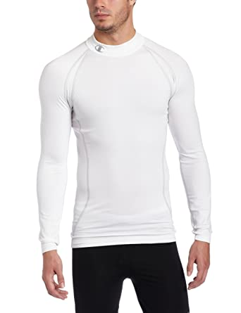 f7b0260b9 Champion Men's Cold Weather Compression Mock Neck Tee, White, XX-Large