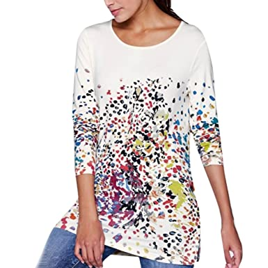 Manga Larga para Mujer Imprimir Moda O-Neck Bllouse Camiseta Blusa Camisetas sin Mangas ❤ Manadlian: Amazon.es: Ropa y accesorios
