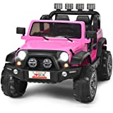 Costzon 2-Seater Ride on Truck, 12V Battery Powered Electric Vehicle Toy w/ 2.4G Remote Control, 3 Speed, LED Lights, MP3 Hor
