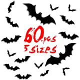 60 pcs Halloween Party Supplies Bat Wall Decals Stickers 3D Black Bats Halloween Eve Decor Home Window Decoration Set