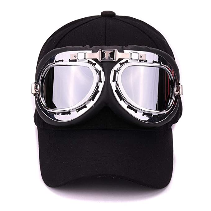 a46dffecd72 Amazon.com  Fancy Cotton ski Goggles Baseball Cap with Polite Glasses  Sports caps Novelty Halley hat for Men and Women Black  Clothing