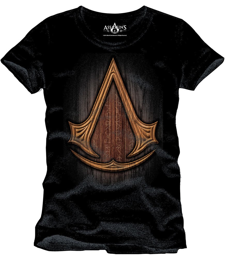 Assassins Creed Insignia Wood camiseta negro de algodón Elbenwald