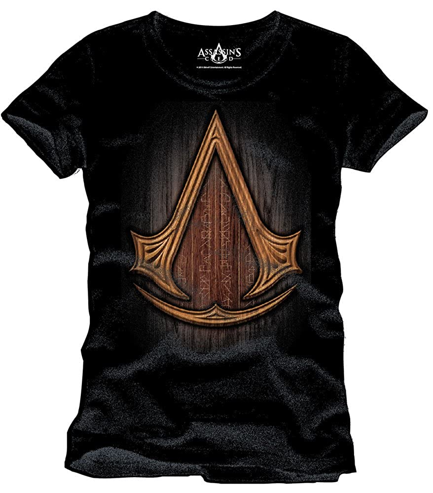 Assassins Creed Insignia Wood Camiseta Negro de Algodón