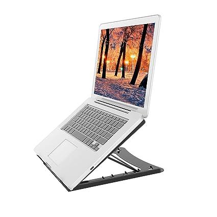 Soporte de Ordenador Portátil - Altura Ajustable 5 Niveles Inclinación Almohadilla Antideslizante de Laptop, MacBook