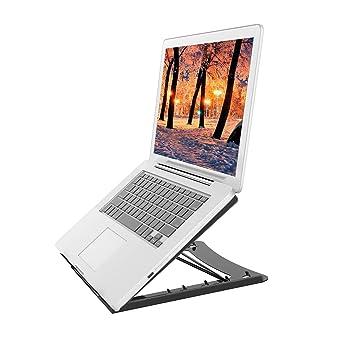 Soporte de Ordenador Portátil - Altura Ajustable 5 Niveles Inclinación Almohadilla Antideslizante de Laptop, MacBook, Elevador de Portátil Espalda Abierta ...